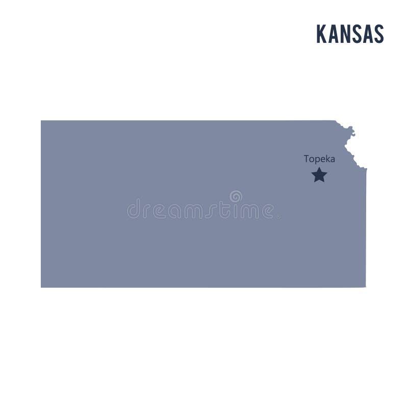 Vektoröversiktstillståndet av Kansas isolerade på vit bakgrund vektor illustrationer
