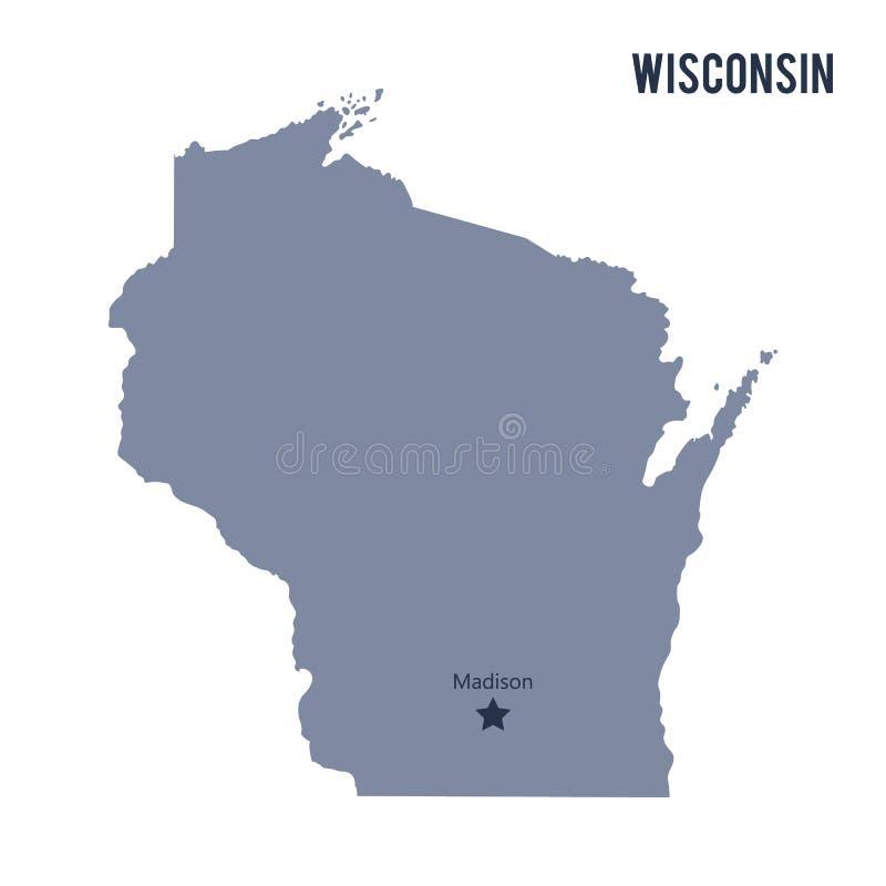 Vektoröversiktstillståndet av Wisconsin isolerade på vit bakgrund royaltyfri illustrationer