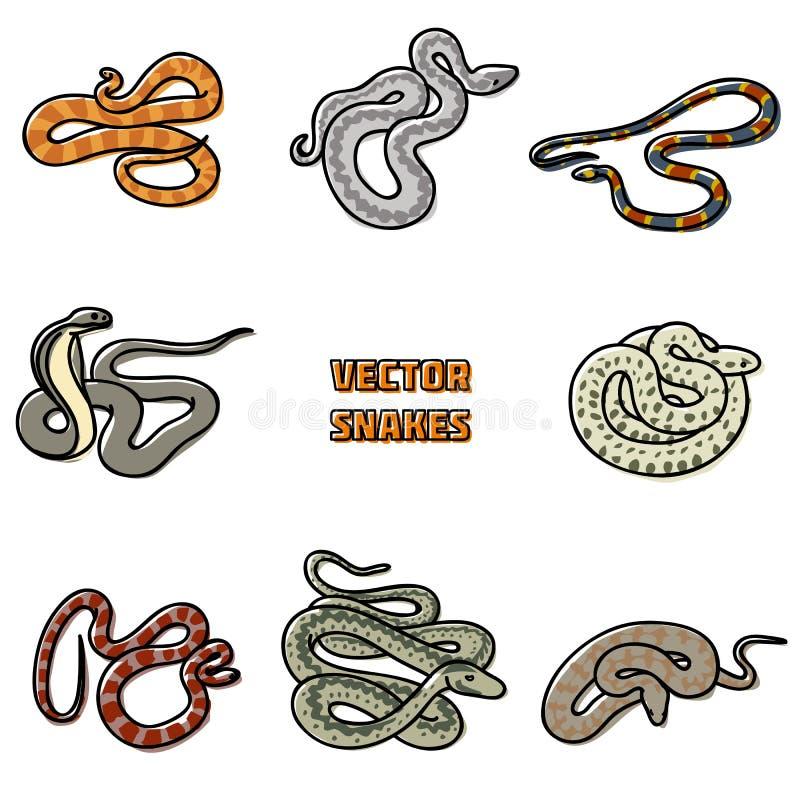 Vektoröversiktsuppsättning av ormar stock illustrationer