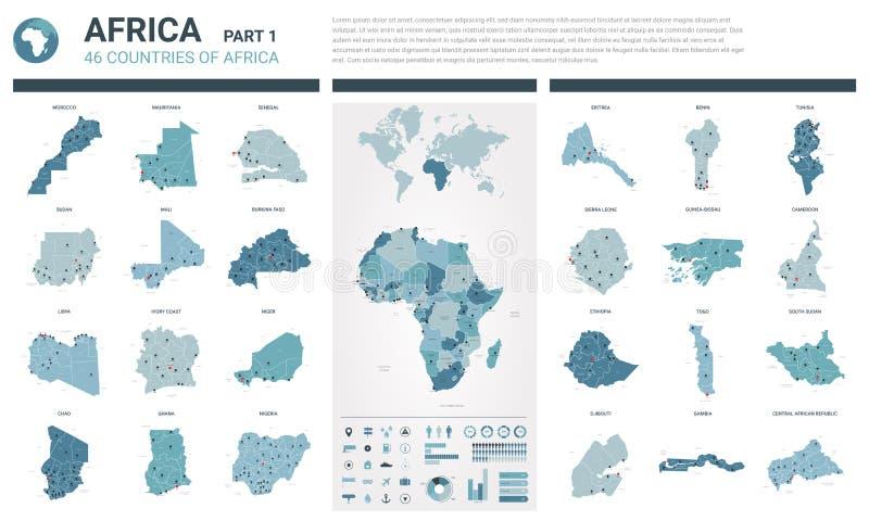 Vektoröversiktsuppsättning Höjdpunkten specificerade 46 översikter av afrikanska länder med administrativ uppdelning och städer P vektor illustrationer