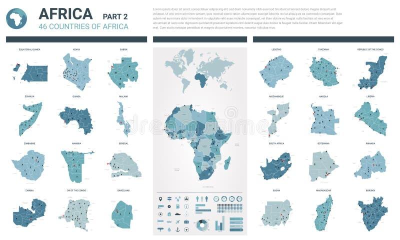 Vektoröversiktsuppsättning Höjdpunkten specificerade 46 översikter av afrikanska länder med administrativ uppdelning och städer P royaltyfri illustrationer
