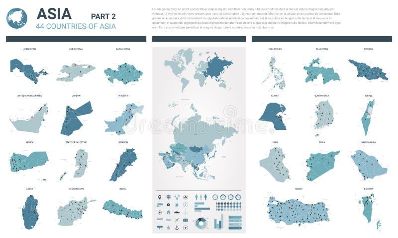 Vektoröversiktsuppsättning Höjdpunkten specificerade 44 översikter av asiatiska länder med administrativ uppdelning och städer Po stock illustrationer