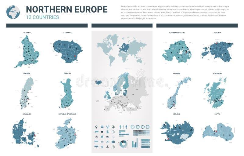 Vektoröversiktsuppsättning Höjdpunkten specificerade 12 översikter av Nordeuropa länder med administrativ uppdelning och städer P stock illustrationer
