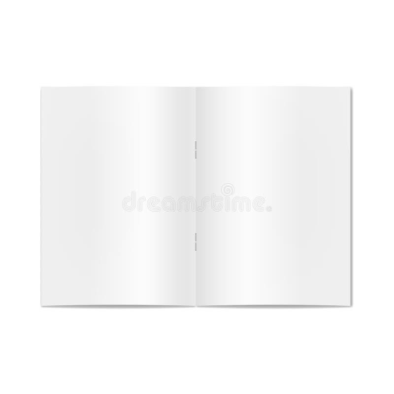 Vektor öppnad realistisk bok, tidskrift, tidskrift eller tidning på häftklammermodell vektor illustrationer