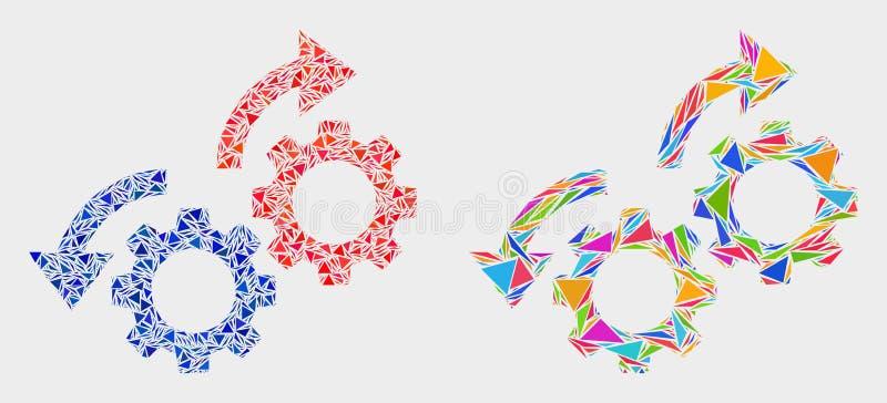Vektor übersetzt Rotations-Pfeil-Mosaik-Ikone von Dreiecken lizenzfreie abbildung