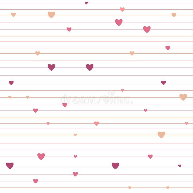 Vektor abgestreiftes geometrisches nahtloses Muster mit Herzen stock abbildung
