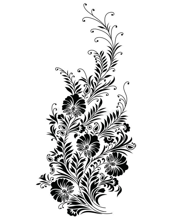 Vektor - abstrakt svart blom- vine stock illustrationer
