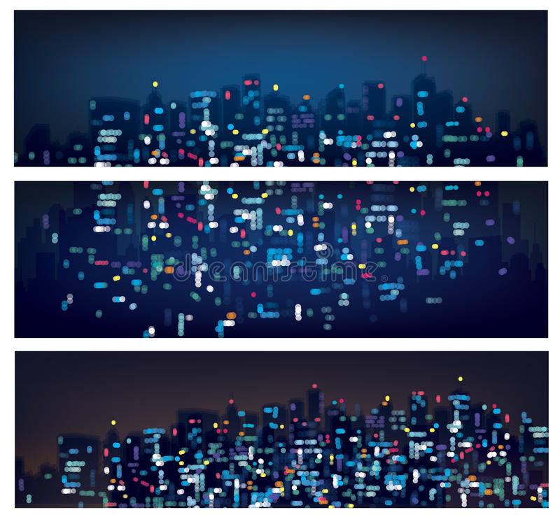 Vektor abstrakte bokeh Nachtstadtfahnen stock abbildung