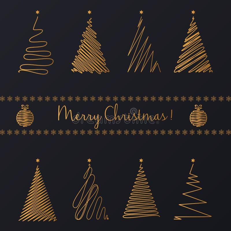 Vektor-abstrakte Hand, die goldenes PseudografikWeihnachtsbaumsatz zeichnet stock abbildung