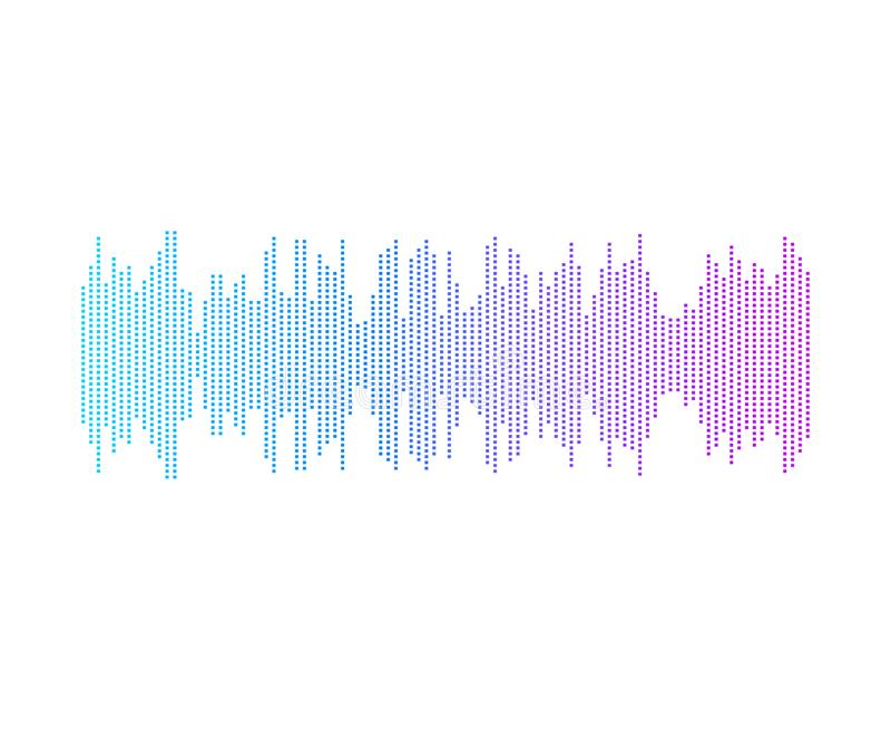 Vektor-abstrakte Musik-Welle, Spieler-Ikone, Steigungs-helle Farben, lokalisiert vektor abbildung