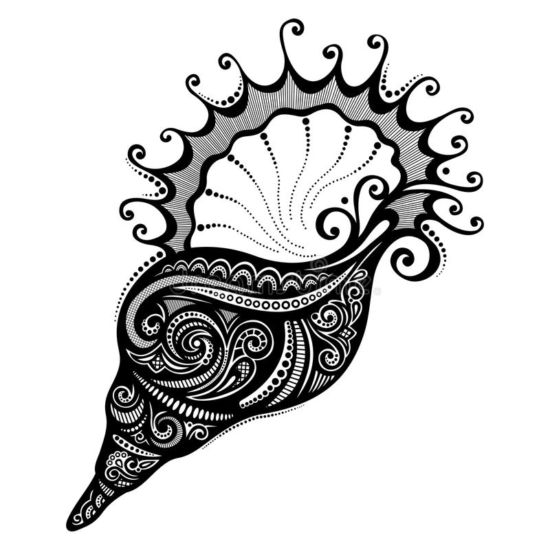 Vektor-abstraktes Meer Shell lizenzfreie abbildung