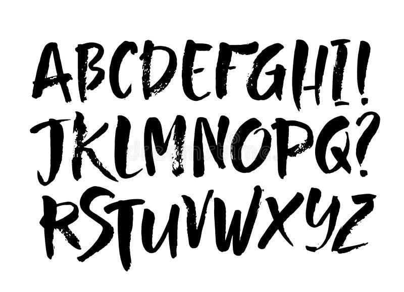 Vektor-Acrylbürsten-Art-Hand gezeichneter Alphabet-Guss Kalligraphiealphabet auf einem weißen Hintergrund lizenzfreie abbildung
