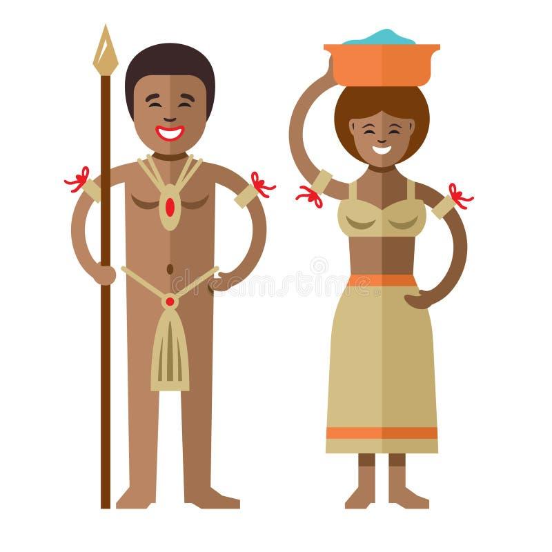 Vektor-Afrikanerureinwohner Flache Art bunte Karikaturillustration stock abbildung