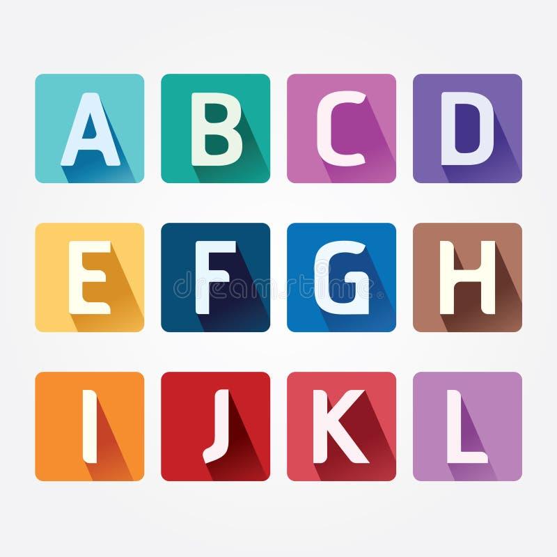 Vektor-Alphabet-bunter Guss mit Sahdow-Art. lizenzfreie abbildung