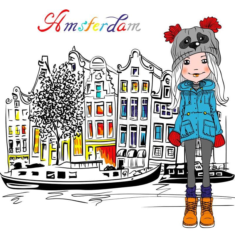 Vektor-Amsterdam-Kanal und typische niederländische Häuser lizenzfreie abbildung