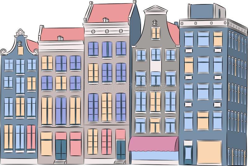 Vektor amsterdam Mehrfarbige Häuser vektor abbildung