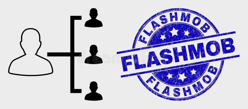 Vektor-Anschlag-Leute-Hierarchie-Ikone und Schmutz Flashmob-Dichtung lizenzfreie abbildung