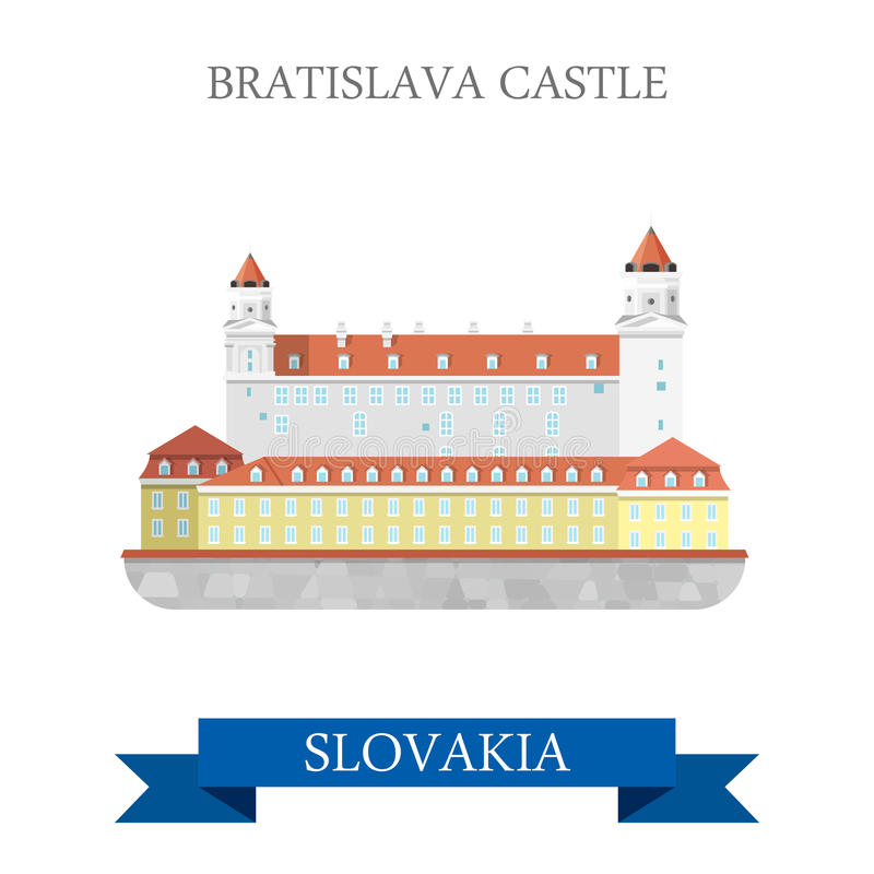 Vektor-Anziehungskraftanblick Bratislava-Absolvent-Schloss-Slowakei flacher lizenzfreie abbildung