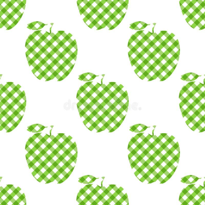 Vektor Apple - grönt rutigt abstrakt begrepp Sömlös modell som isoleras på vit bakgrund stock illustrationer