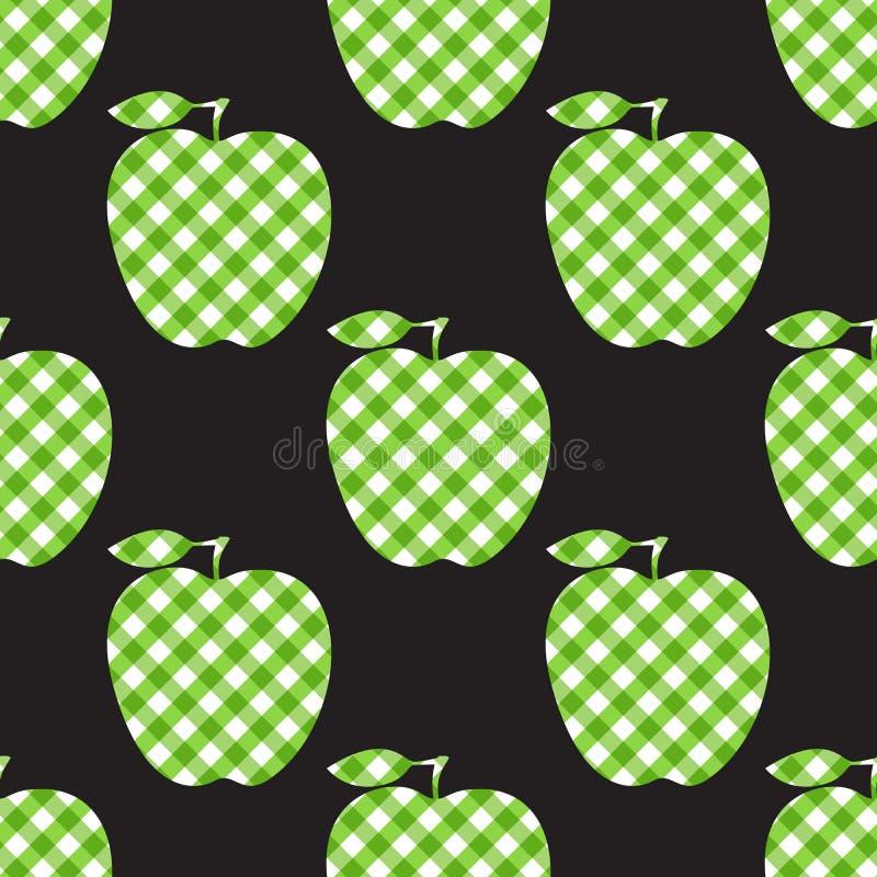 Vektor Apple - grönt rutigt abstrakt begrepp Sömlös modelltegelplatta som isoleras på svart bakgrund royaltyfri illustrationer