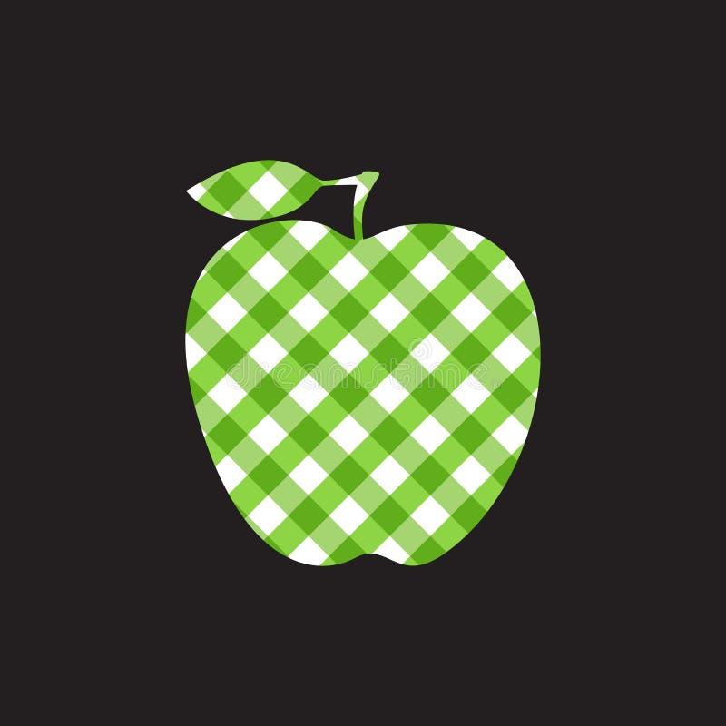 Vektor Apple - grönt rutigt abstrakt begrepp som isoleras på svart bakgrund royaltyfri illustrationer