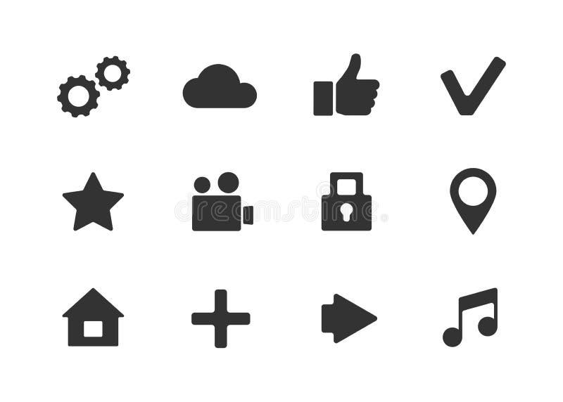 Vektor apps Ikone eingestellt über weißen Hintergrund stock abbildung