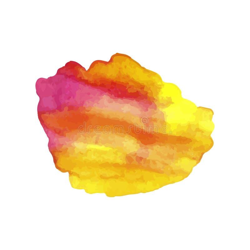Vektor-Aquarell-Stelle, helles rotes und gelbes Steigungs-Farben-Spritzen lokalisiert stock abbildung