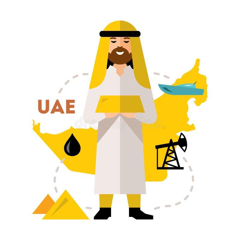 Vektor-arabische Erdölindustrie Flache Art bunte Karikaturillustration stock abbildung