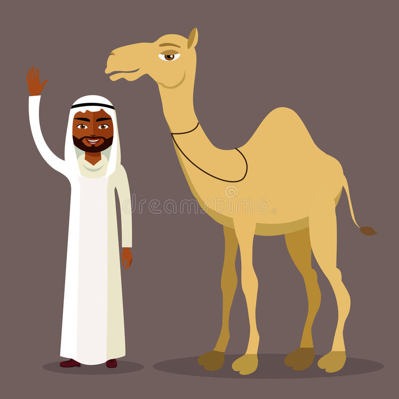 Vektor - arabisk man som vinkar hennes hand och roliga kamel isolerat stock illustrationer