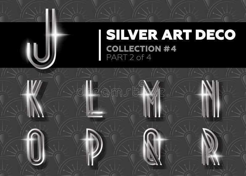 Vektor Art Deco Font Retro alfabet för glänsande silver Gatsby Styl royaltyfri illustrationer