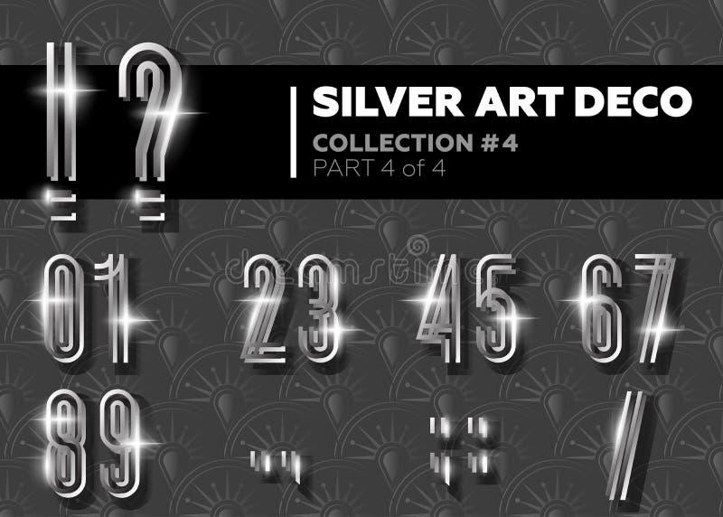 Vektor Art Deco Font Retro alfabet för glänsande silver Gatsby Styl stock illustrationer