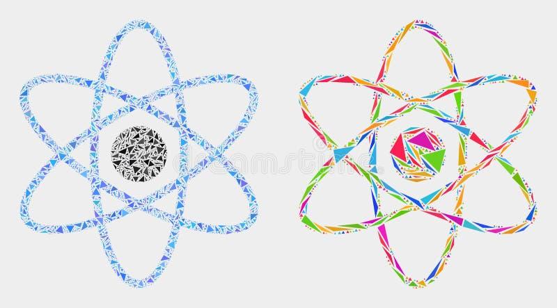 Vektor Atom Mosaic Icon von Dreieck-Elementen lizenzfreie abbildung