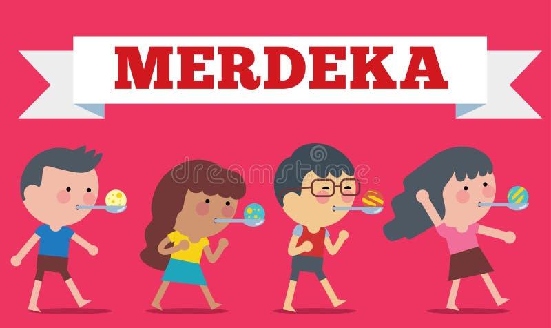 Vektor auf Lager der Illustration auf Hari Merdeka, Unabhängigkeitstag von Indonesien Flache Illustrationsart stock abbildung