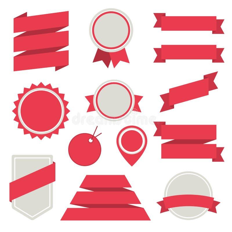 Vektor-Aufkleber und Ausweise stellten flache Art 3. ein. stock abbildung