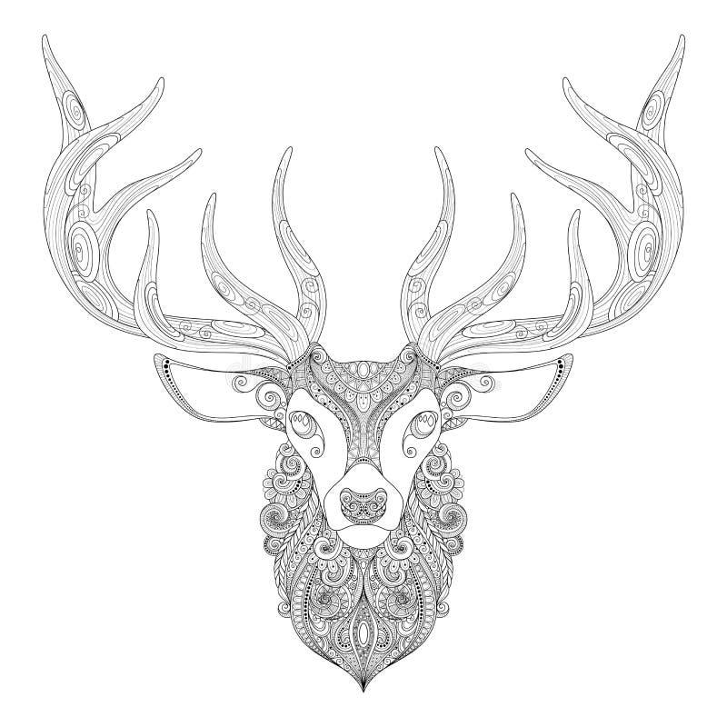 Vektor-aufwändige Rotwild-gehörnter Kopf stock abbildung