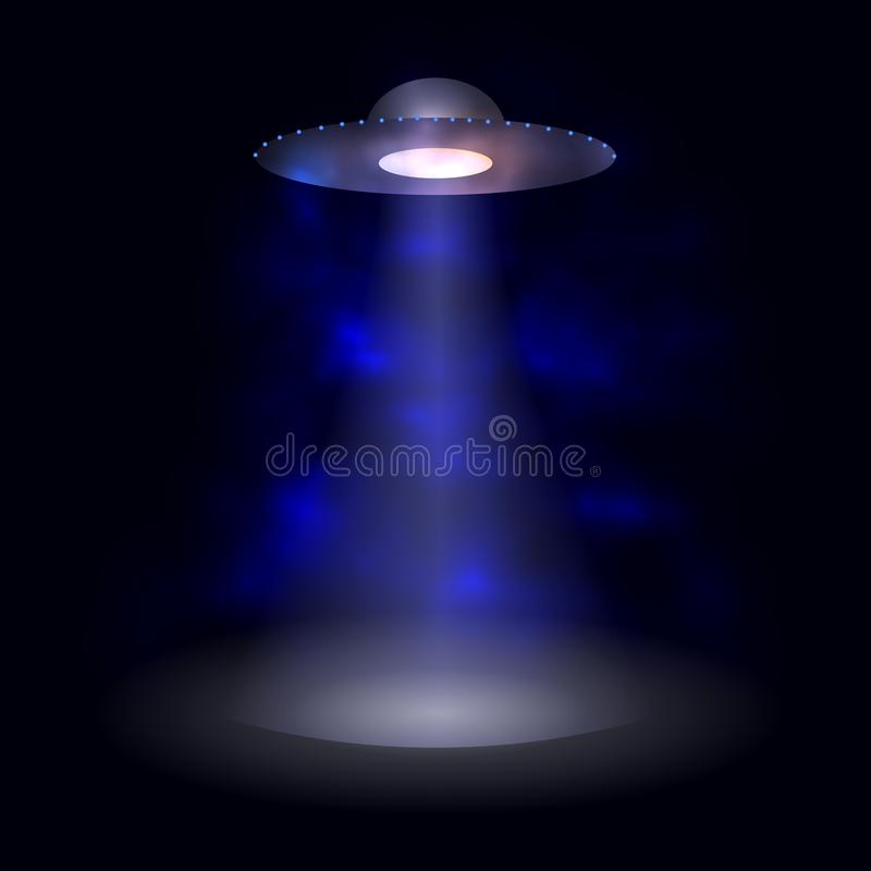Vektor-ausländisches Raumschiff, abstraktes glühendes Licht lizenzfreie abbildung