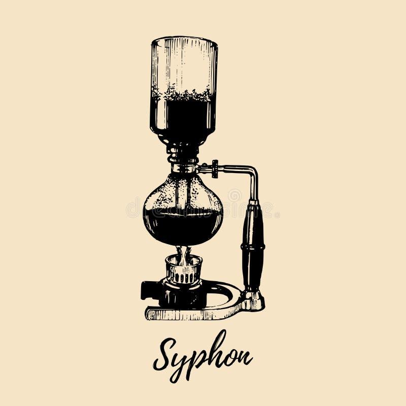 Vektor-Aussaugheberillustration Hand skizzierte Hersteller für das alternative Kaffeebrauen Café, Restaurantmenü-Konzept des Entw stock abbildung