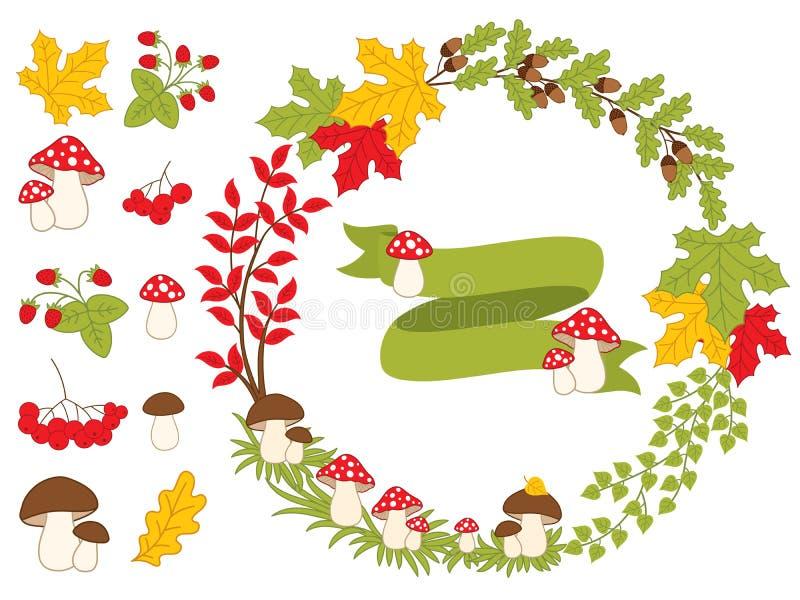Vektor Autumn Forest Set med kransen, champinjoner, sidor och bär stock illustrationer
