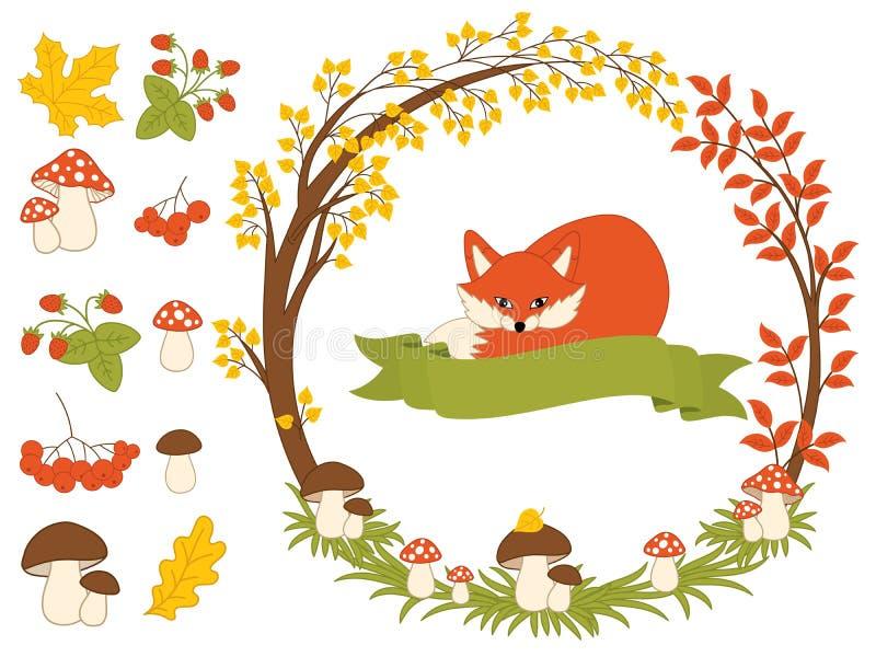 Vektor Autumn Forest Set med räven, champinjoner, kransen och sidor Autumn Clipart också vektor för coreldrawillustration vektor illustrationer