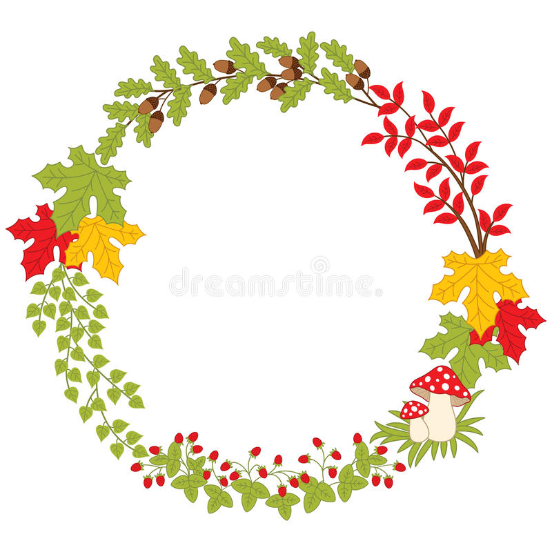 Vektor Autumn Forest Wreath mit Wulstling, Blättern und Beeren Vektor-Fall lizenzfreie abbildung
