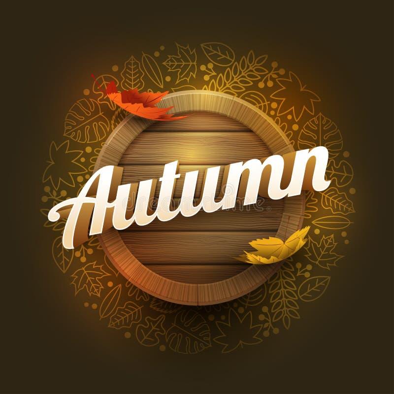 Vektor Autumn Poster Design Template vektor illustrationer