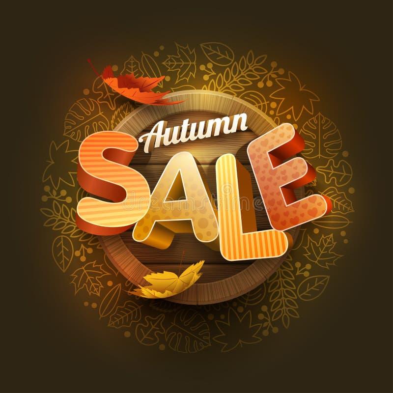 Vektor Autumn Sale Poster Design Template lizenzfreie abbildung