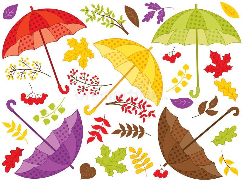 Vektor Autumn Set av färgrika paraplyer med sidor royaltyfri illustrationer