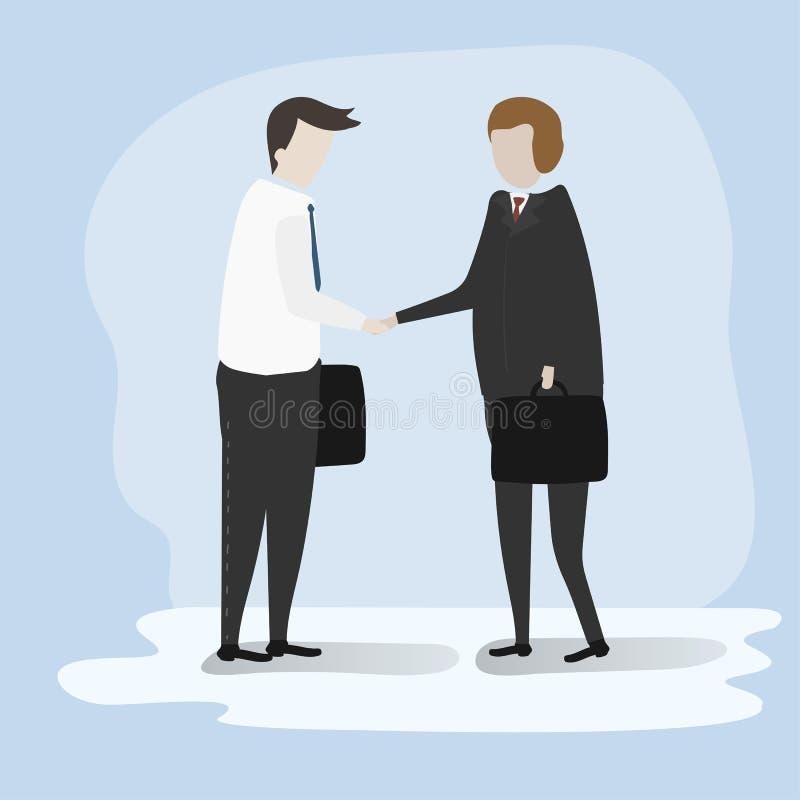 Vektor av affären som handlar som skakar händer royaltyfri illustrationer