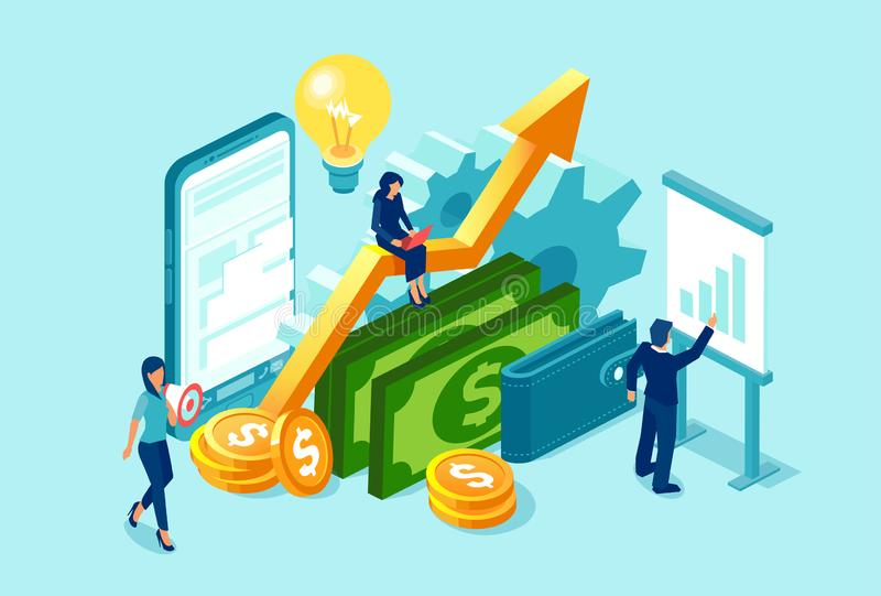 Vektor av affärslaget som arbetar på analys och vinst för finansiella data vektor illustrationer