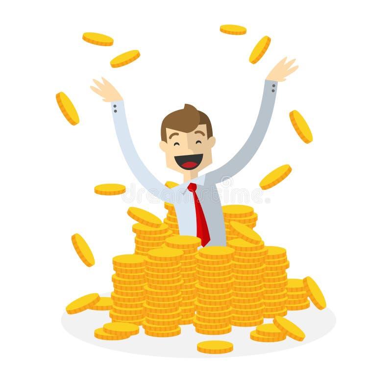 Vektor av affärsmannen i högar av guld- mynt royaltyfri illustrationer