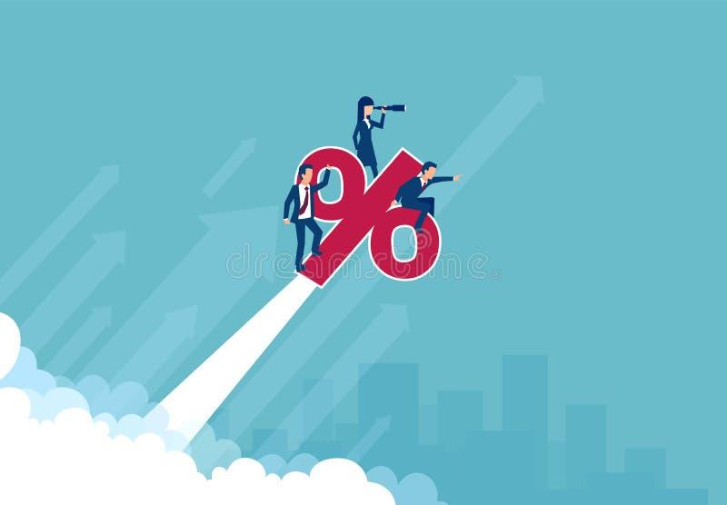 Vektor av anställda för en affärslagbank som rider upp ett procentsymbol stock illustrationer