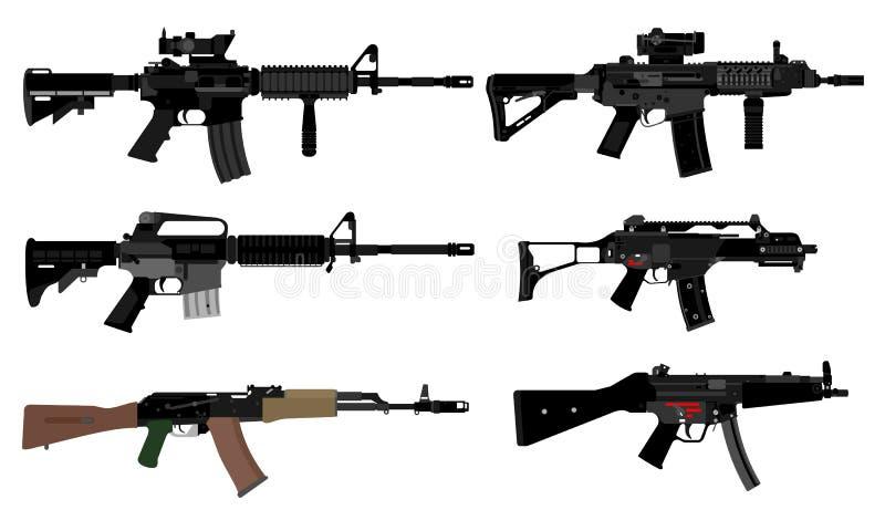 Vektor av automatiska vapen vektor illustrationer