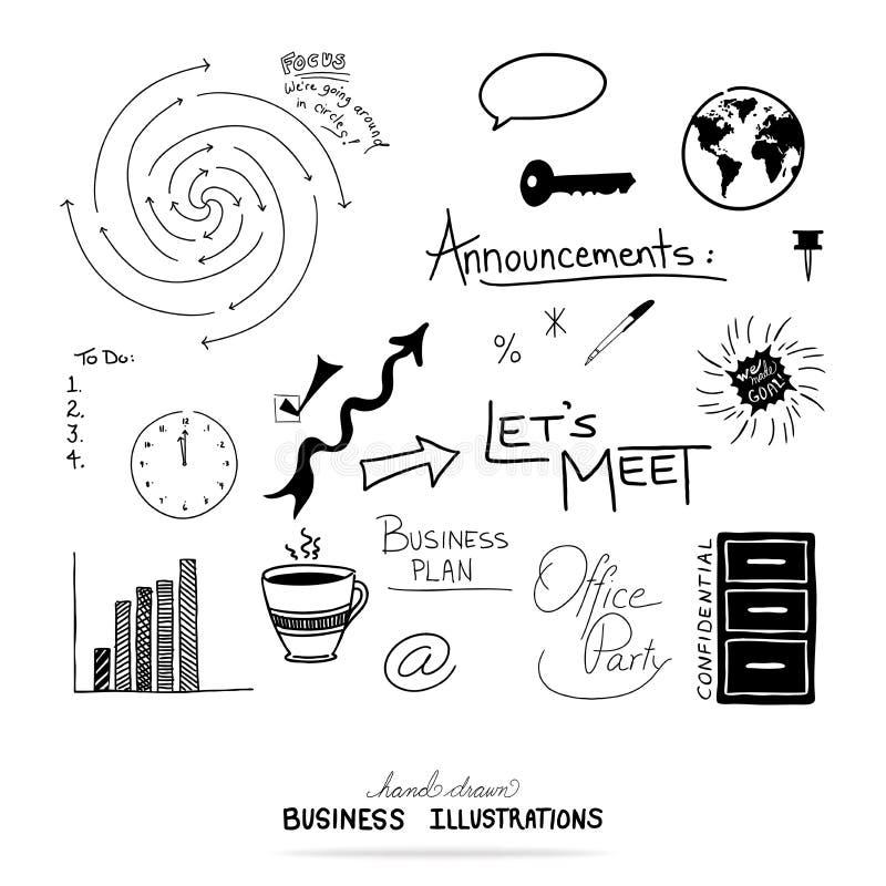 Vektor av beståndsdelar för affärsdesign, hand dragen illustrationer och typografi royaltyfri illustrationer