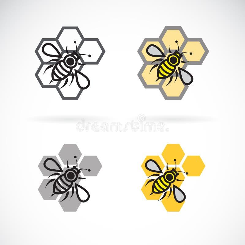 Vektor av bi- och honungskakadesignen kryp anhydrous Bisymboler Lätt redigerbar i lager vektorillustration vektor illustrationer